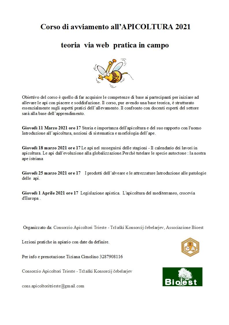 Corso di avviamento all'apicoltura 2021